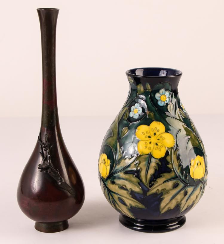 Moorcroft Ceramic Vase with a bronze bud vase