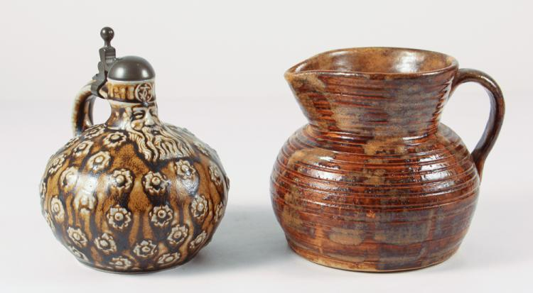 Fulper ceramic pitcher with an unusual stoneware lidded pitcher