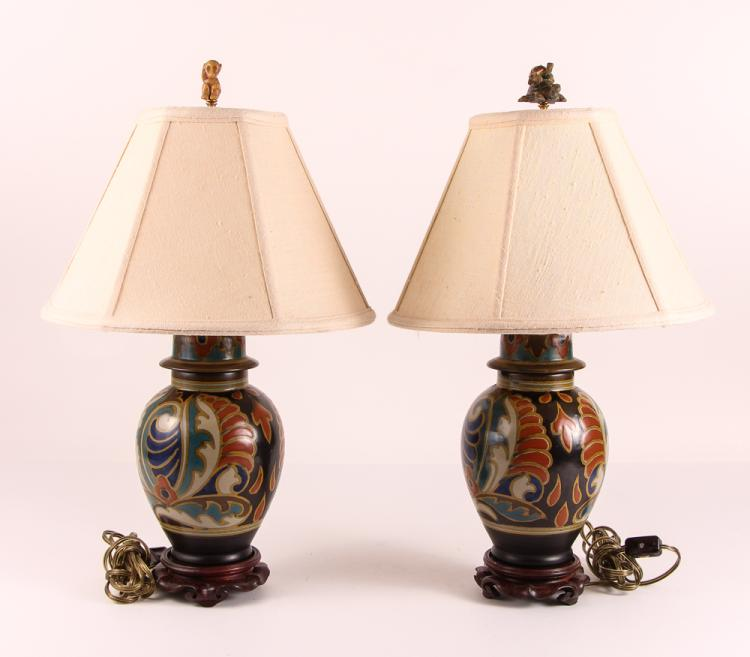 Pair Zuid Holland Gouda Pottery Glazed Lamps