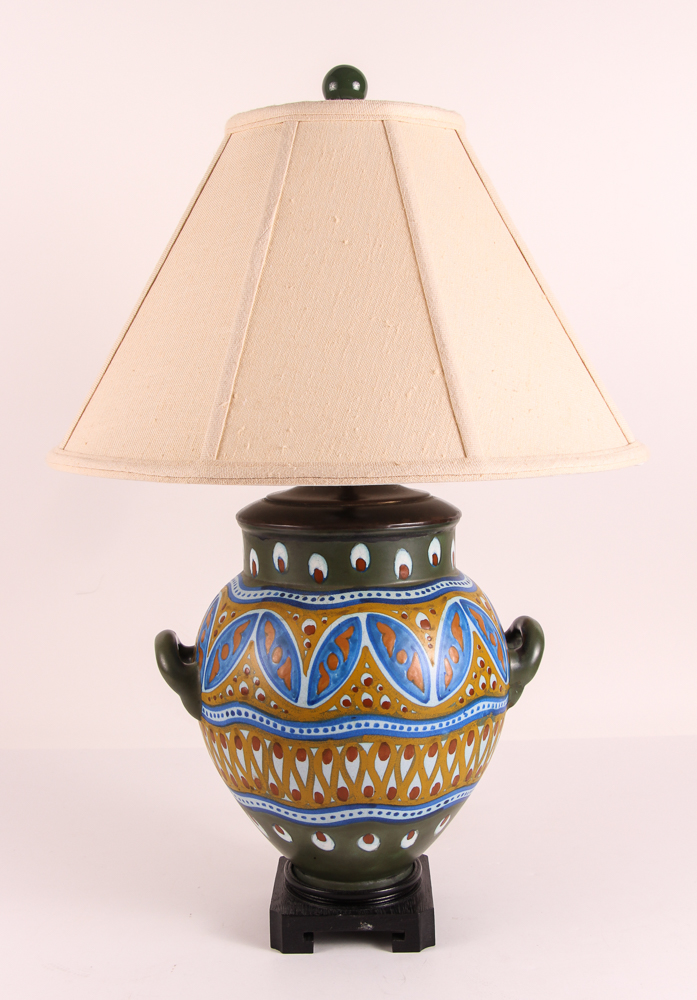 Gouda Pottery Vase Mounted as a Lamp
