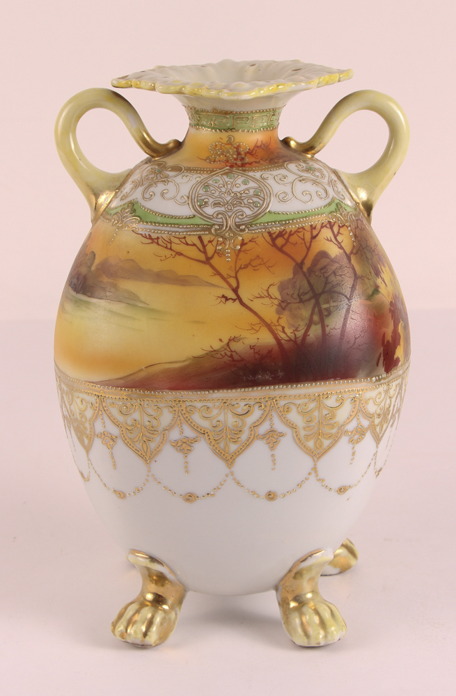Nippon hand painted two handled vase