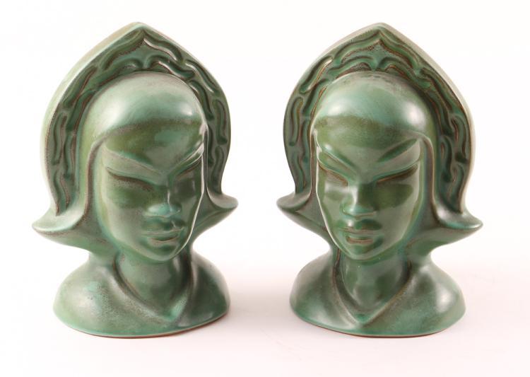 Roseville Pottery Burmese 80-B Art Deco Female Green Candle Holders