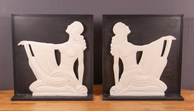 PAIR ART DECO WOMAN ARCHITECTURAL ELEMENTS