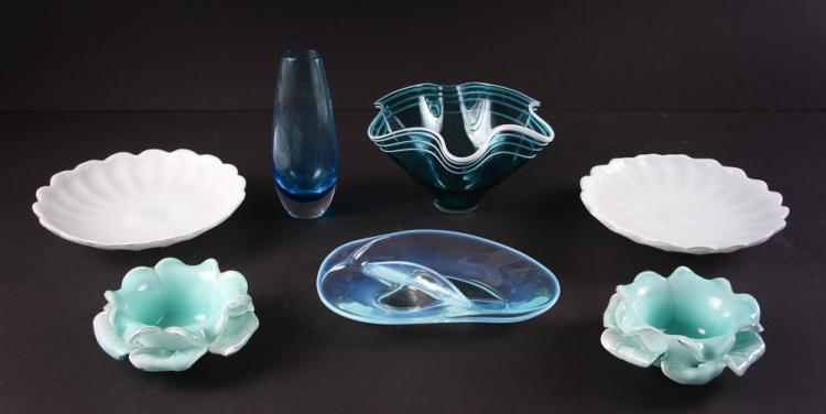 7 Mid Century Aqua Art Glass Dishes & Vases