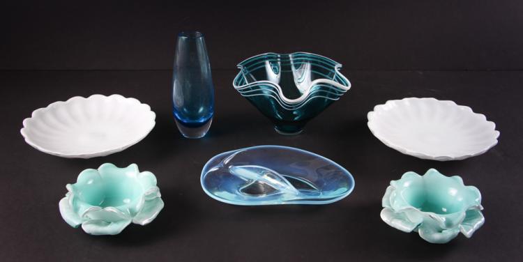 7 Mid Century Aqua Art Glass Dishes & Vases