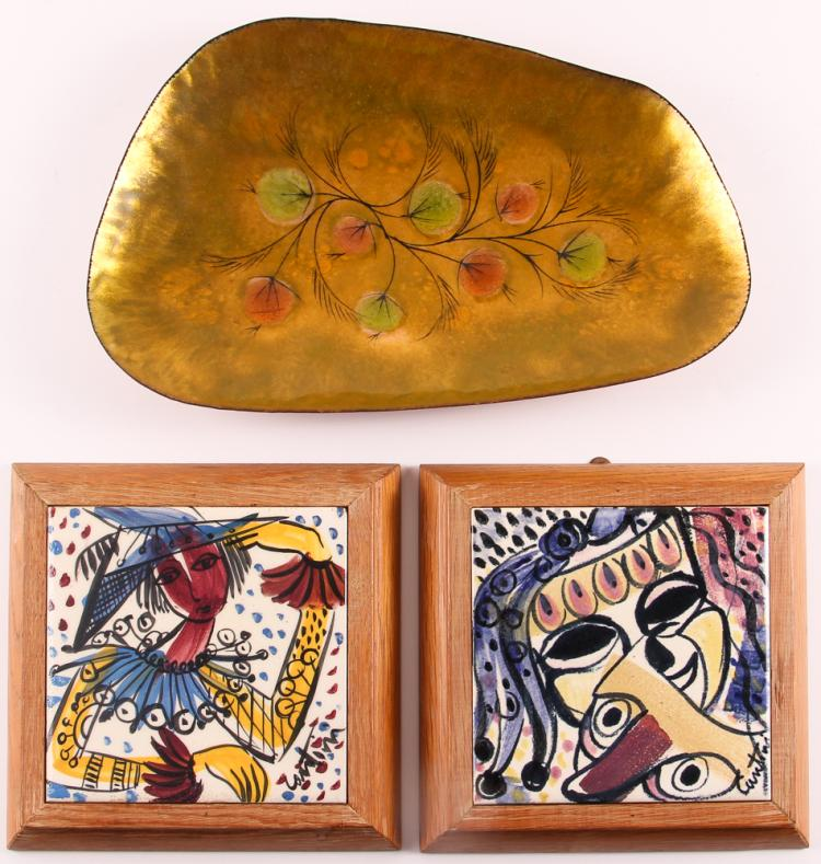 2 Virgil Cantini framed tiles  & California Cloisonné Tray