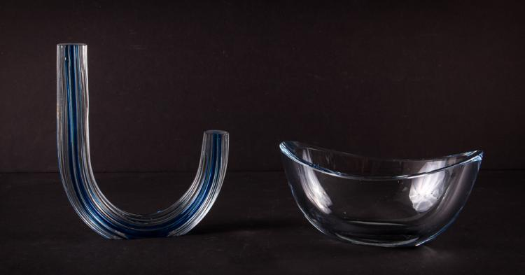Pair of Decorative Mid Century Art Glass Centerpieces