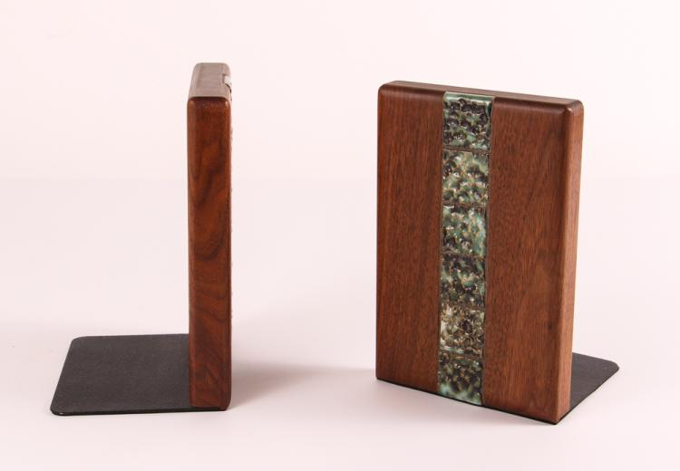 Martz for Marshall Studios wood and ceramic Bookends