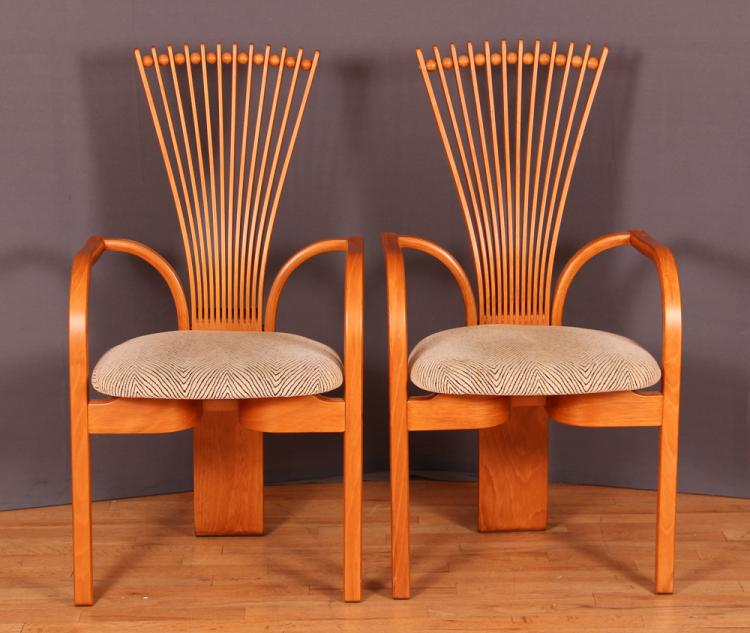 2 Fan Back Totem Armchairs by Torstein Nilsen