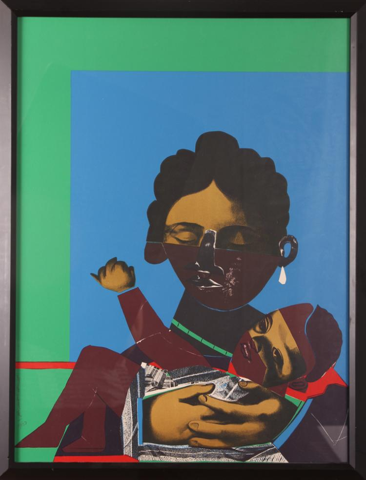 ROMARE BEARDEN Mother and Child 1971 serigraph