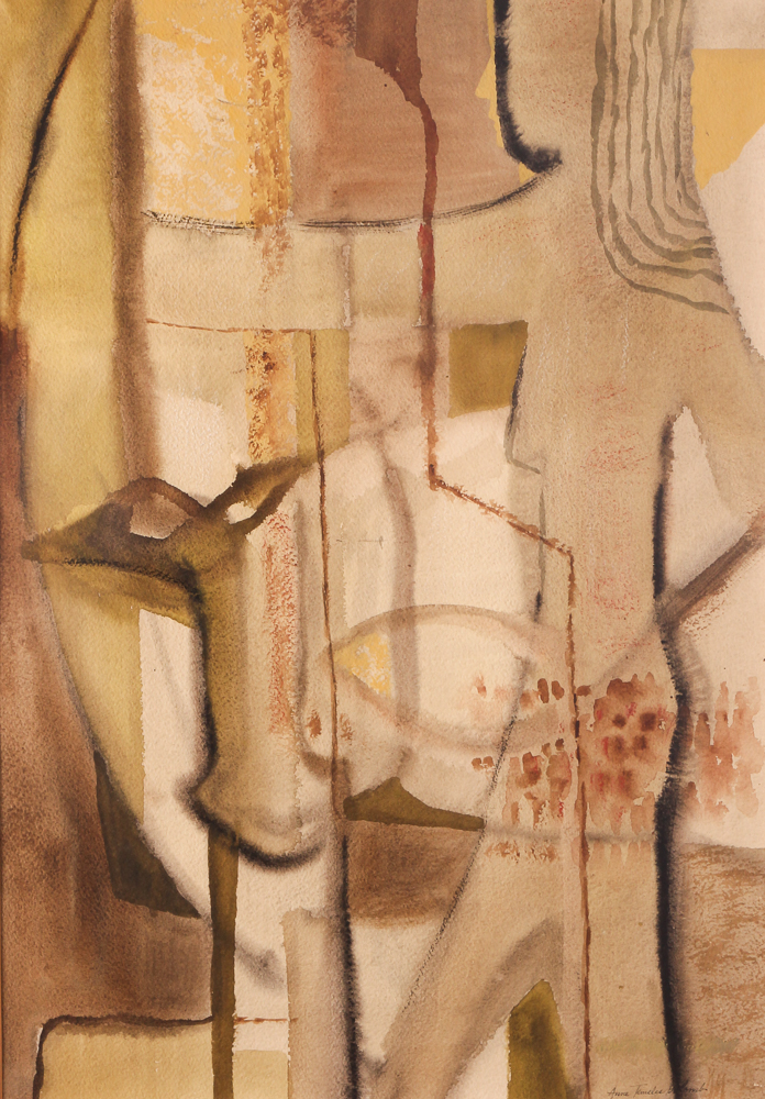 Anne Temeles Golomb 1950's Abstracted Figural Watercolor