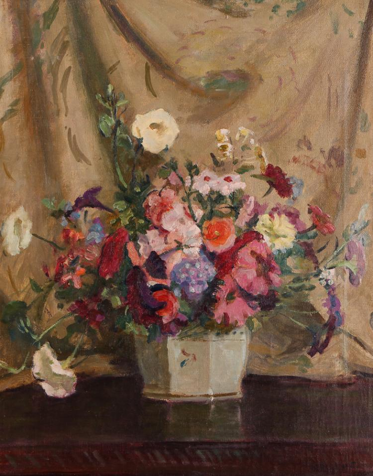 Howard Hildebrandt Tabletop Floral Still Life Oil Painting