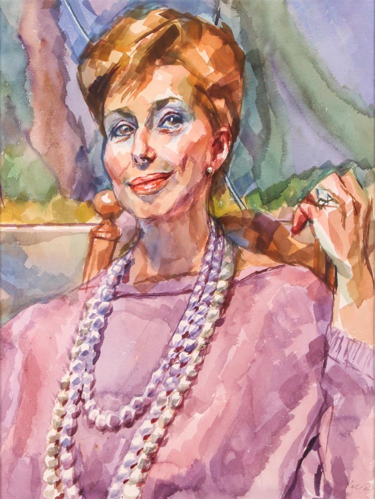 Henry Koerner Portrait of a Elegant Woman Watercolor 1986