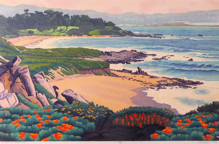 Gordon Mortensen Carmel River Woodcut