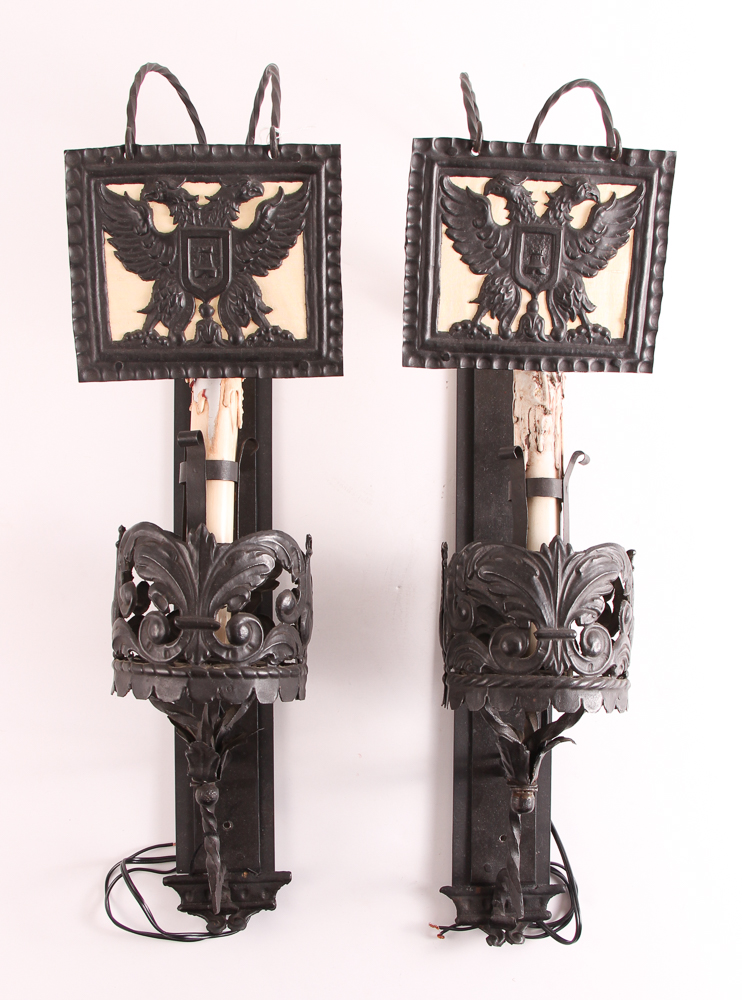 Pair Bronze Sconces with Candle Shades