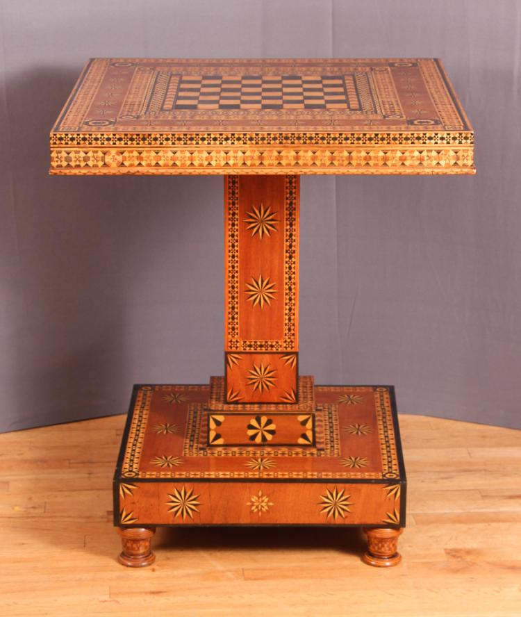 American Folk Art Parquetry Games Table, third quarter of 19th Century