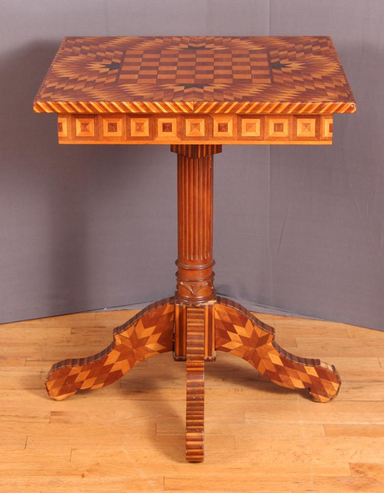 Folk/Tramp Art Footed Game Table