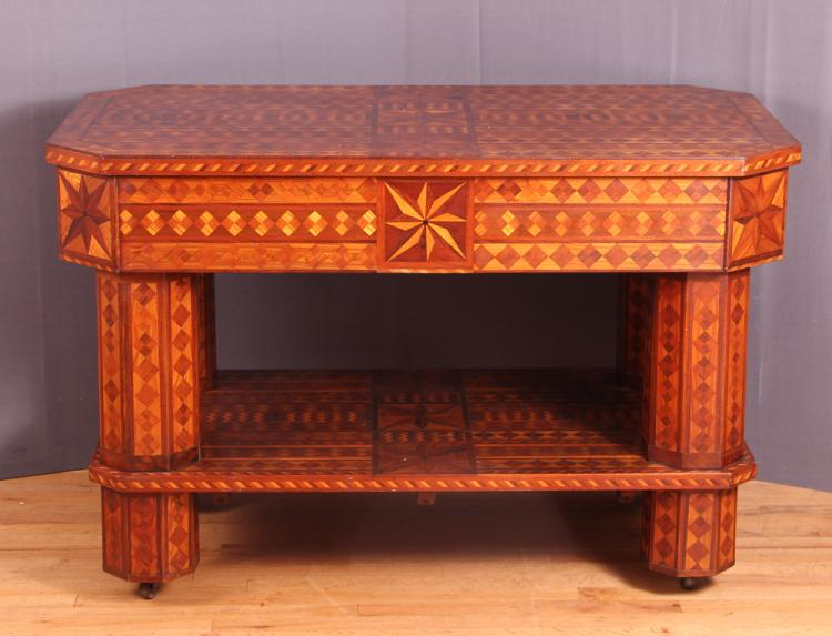 Folk Art Parquetry Library Table by George Rhem of Frankfort, NY