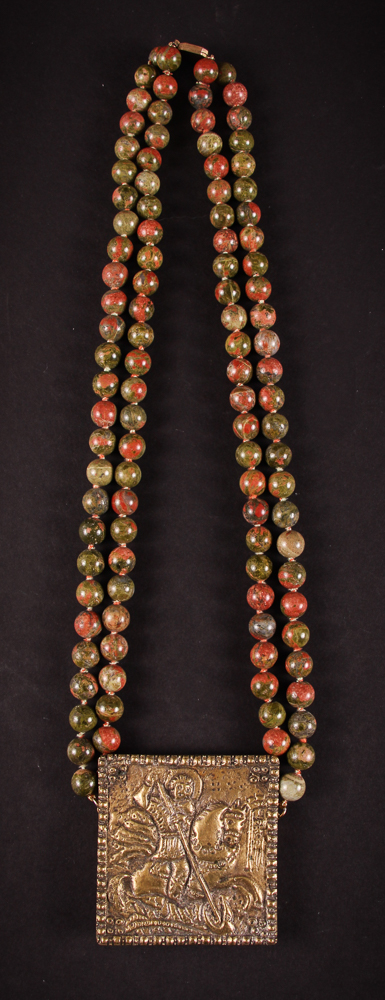 Ruth Frank Beaded Necklace with St. George Medallion