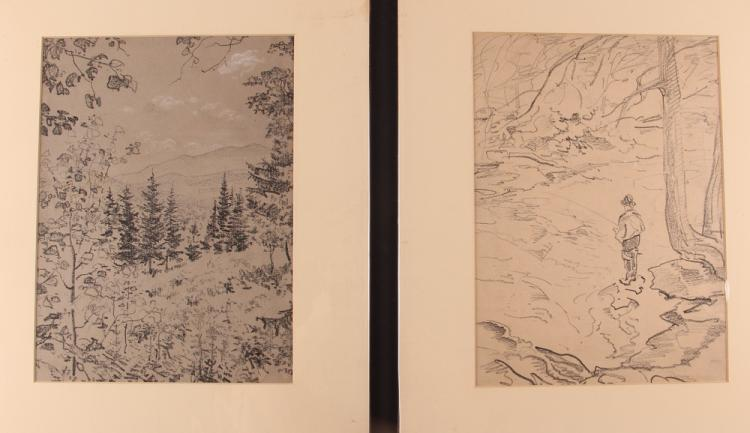 2 Andrey Avinoff  charcoal drawings Landscapes, Fisherman