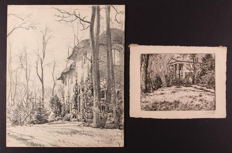 Andrey Avinoff Sewickley Home drawing w Home Etching
