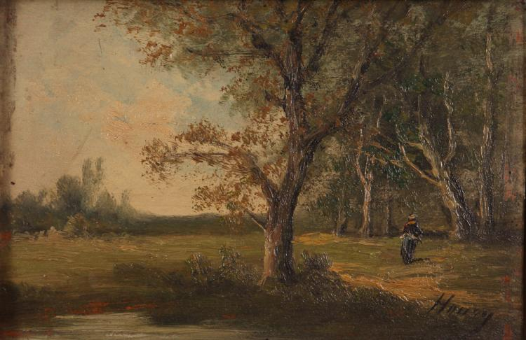 Landscape on Wood Panel possibly by Honey