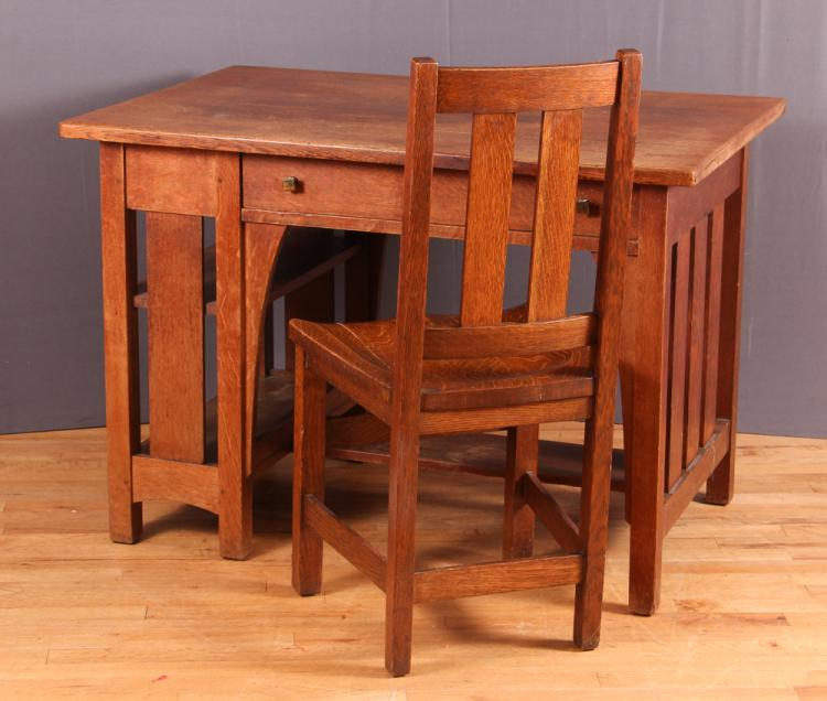 Limber Mission Oak Desk and Chair
