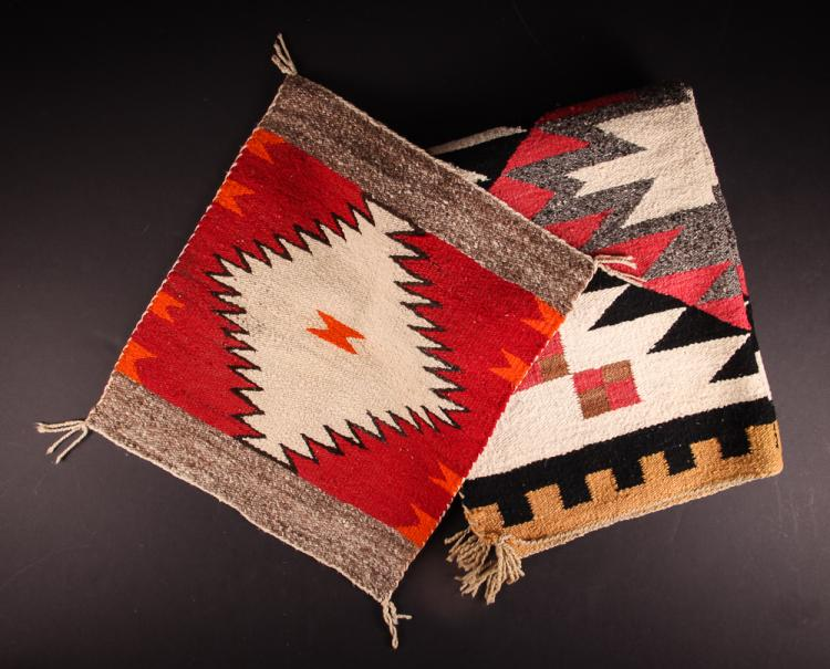2 Navajo Woven Rugs, traditional patterns, 20th Century