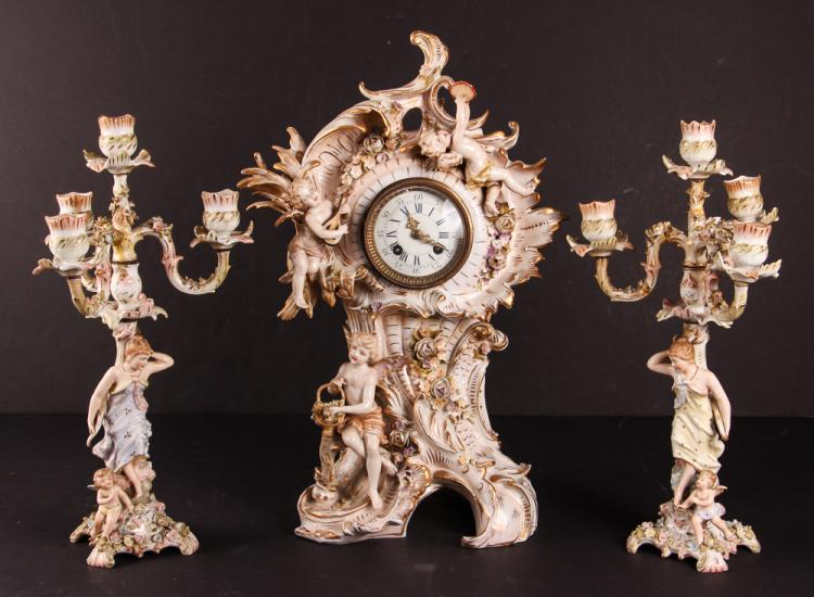 MEISSEN PORCELAIN THREE PIECE CLOCK SET