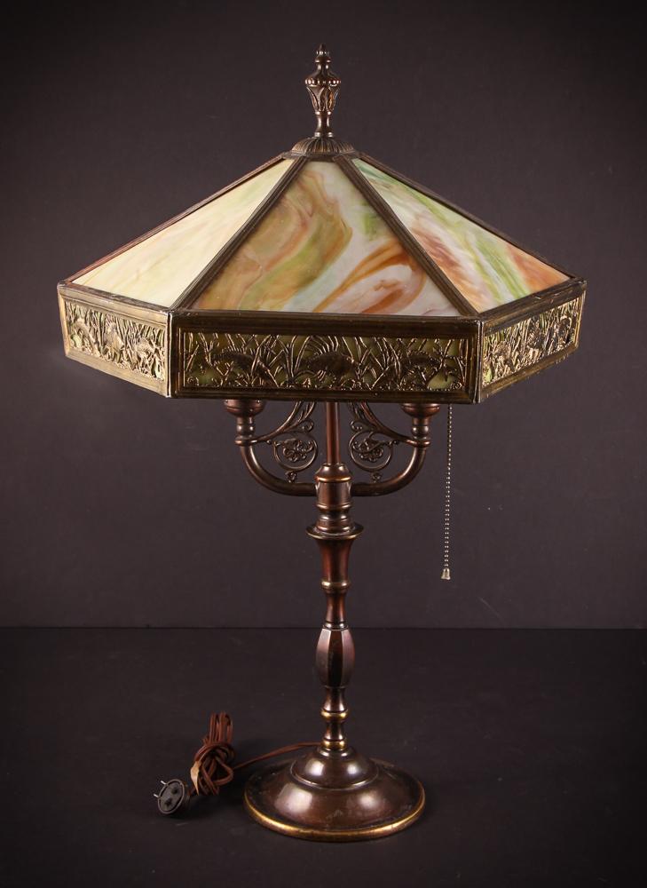 Slag Glass Students Lamp