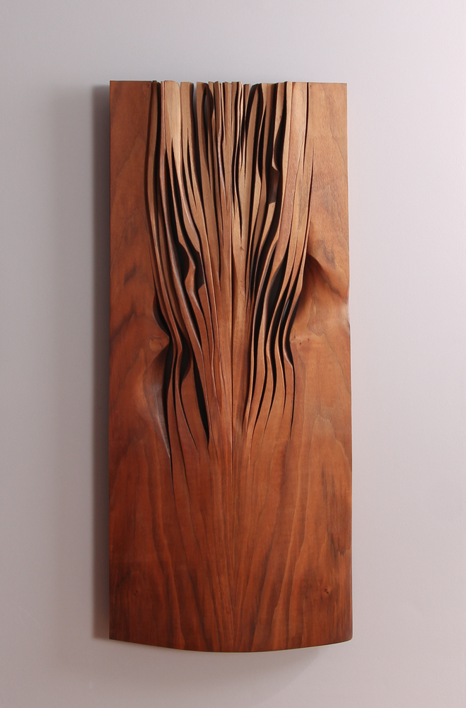 Syl Damianos 2008 wood relief Reaching