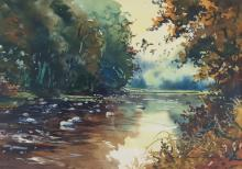 Tom McNickle watercolor Canvasbacks into the Wind