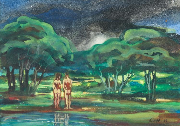 Frank Trapp 1945 watercolor Philippines