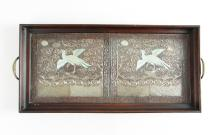 Asian Silver Thread Embroidery Tray