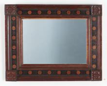 Two Folk Art Block Corner Mirrors