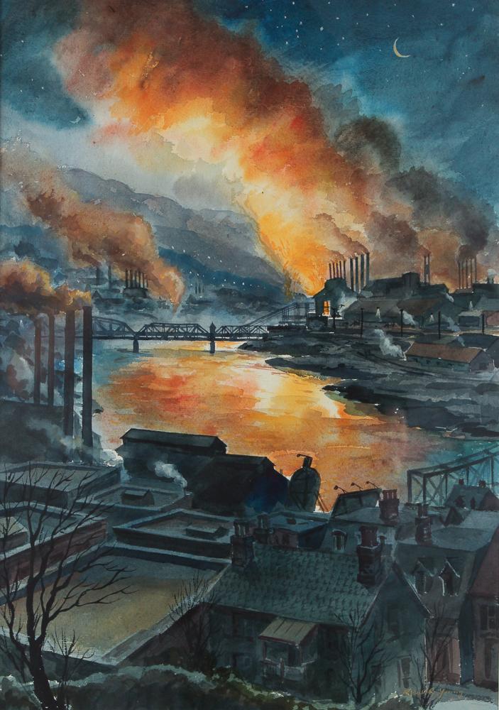 Robert Young Steel Mills at Twilight Watercolor