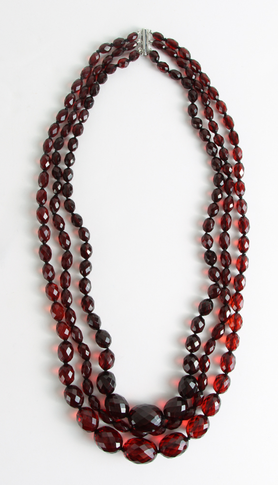 Triple Strand Cherry Amber Necklace