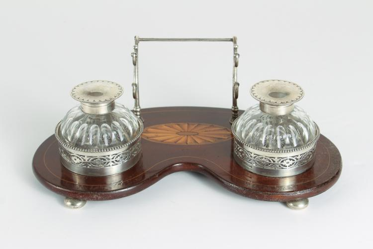 Goodnow & Jenks Sterling Pen Stand with Inkwell Pair