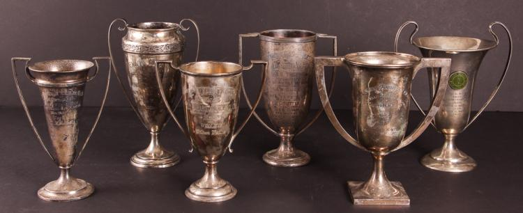Six Sterling Silver Golf Trophies
