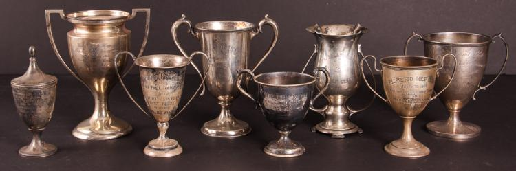 Eight Sterling Silver Golf Trophies