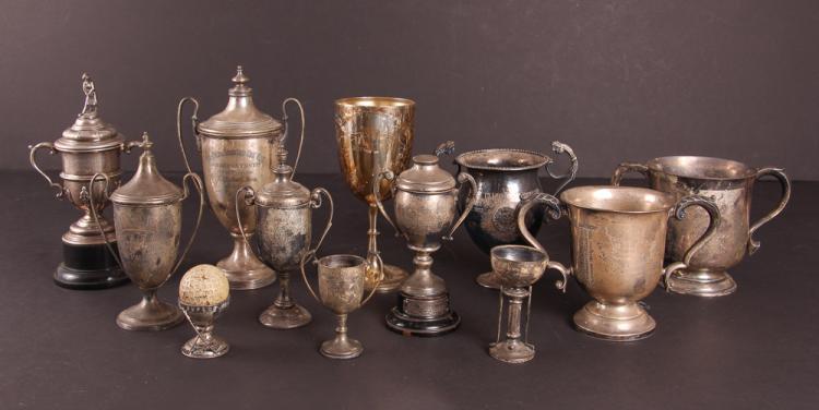 Twelve English Sterling Silver Golf Trophies