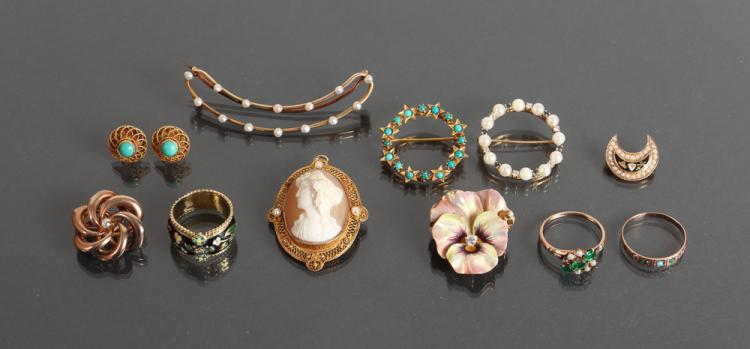 Assorted Gold and Precious Stone Jewelry 11 pcs.