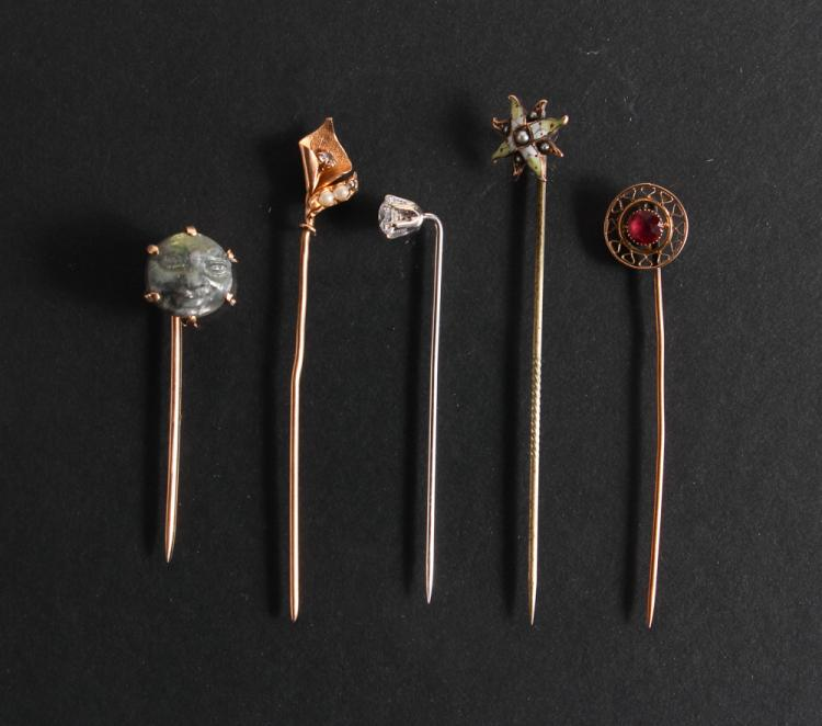 Assorted Gold and Semi Precious Stone Stick Pins