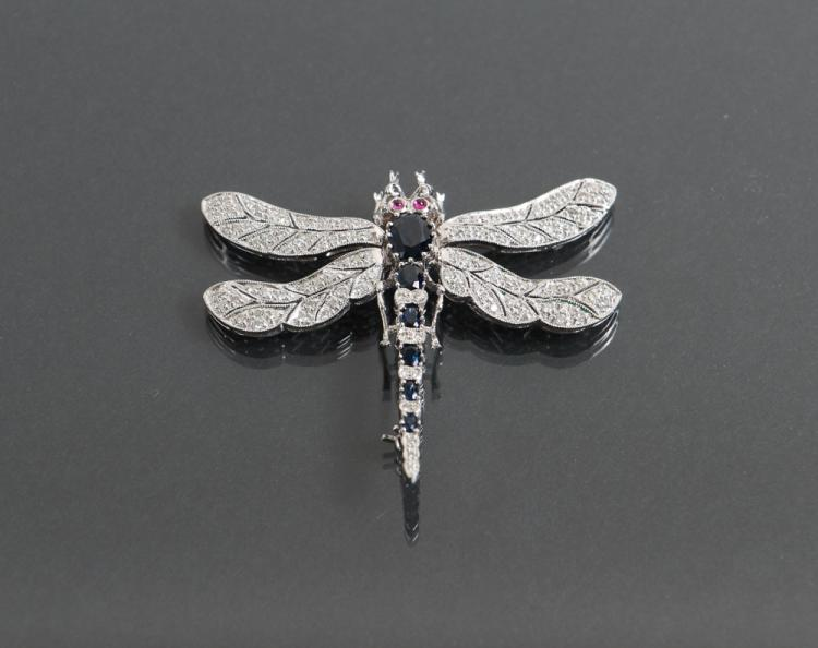 18K White gold, Diamond, Sapphire and Ruby Set Dragonfly Pin