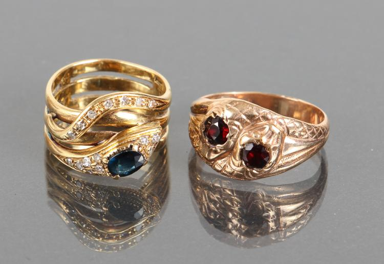 Two Vintage Yellow Gold Snake Rings