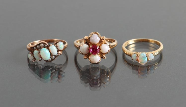Three Yellow Gold Opal Rings