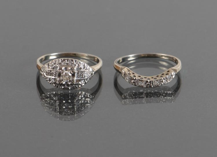 18K White Gold Art Deco Engagement Ring & Curved Wedding Band