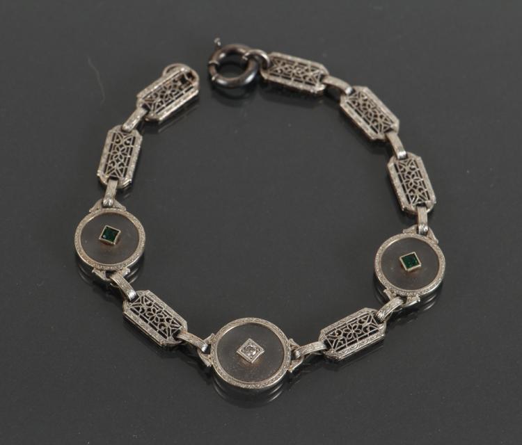 Edwardian Platinum Diamond, Emerald and Crystal Bracelet