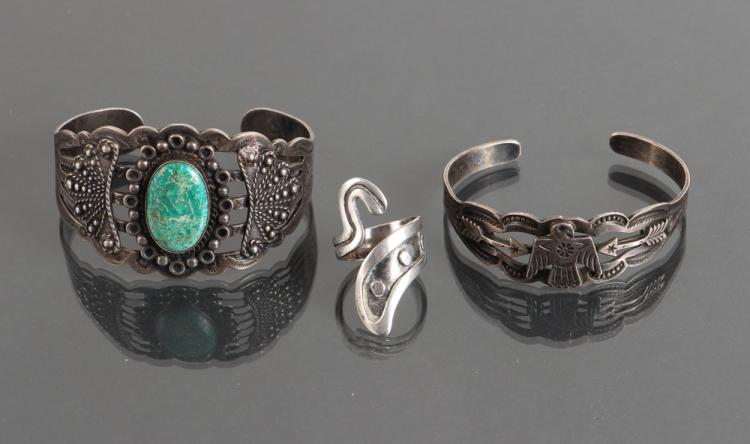 Two Sterling Silver Navajo Bracelets and Mexican Sterling Taxco Ring