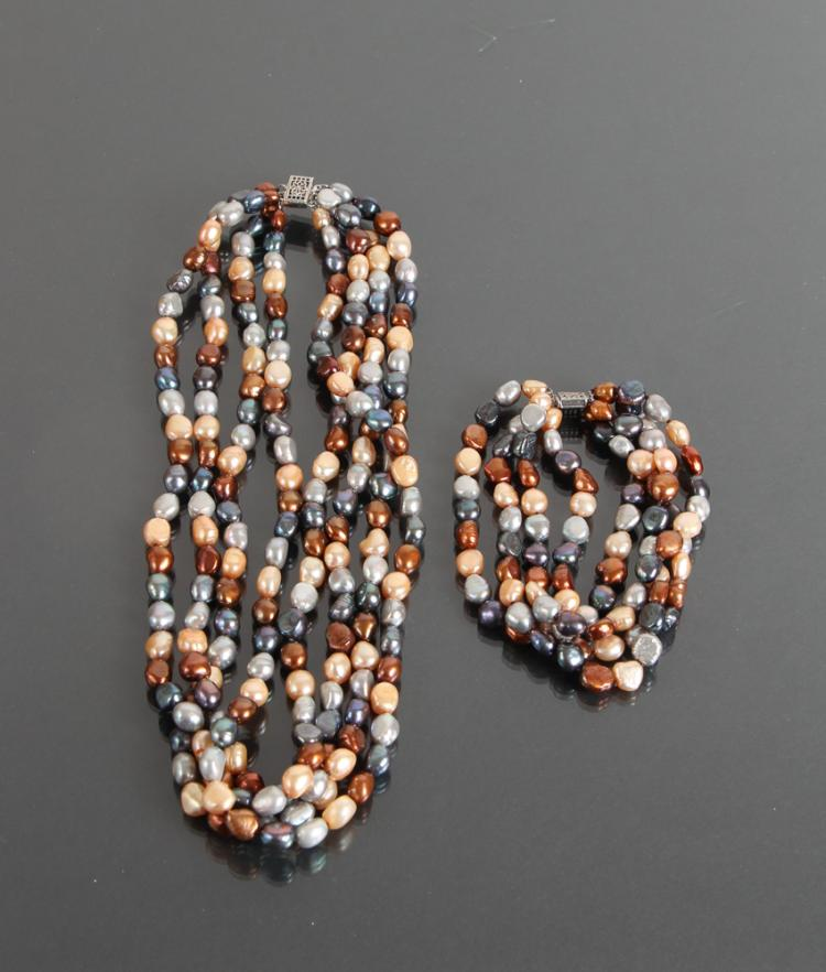 Multi-Color Freshwater Pearl Necklace and Bracelet